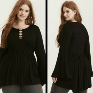Torrid Black Babydoll Challis Sleeve Ring Lattice